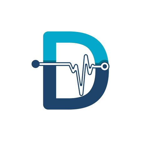 Letter D with Pulse Logo Vector Element Symbol Template