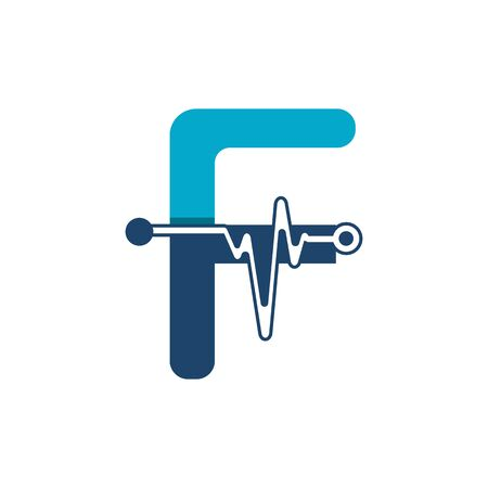 Letter F with Pulse Logo Vector Element Symbol Template