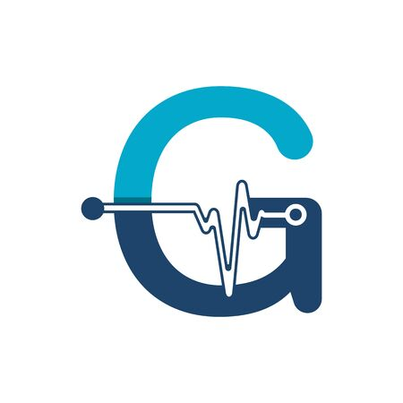 Letter G with Pulse Logo Vector Element Symbol Template Иллюстрация