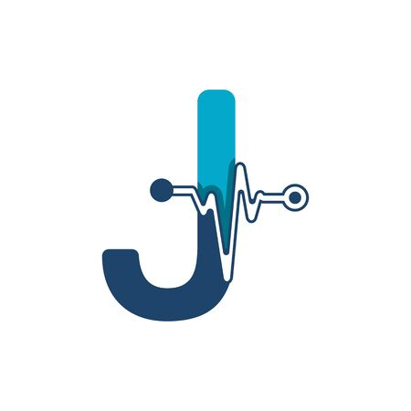 Letter J with Pulse Logo Vector Element Symbol Template Иллюстрация