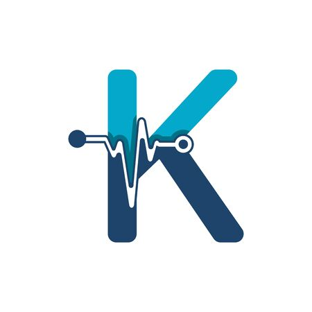 Letter K with Pulse Logo Vector Element Symbol Template