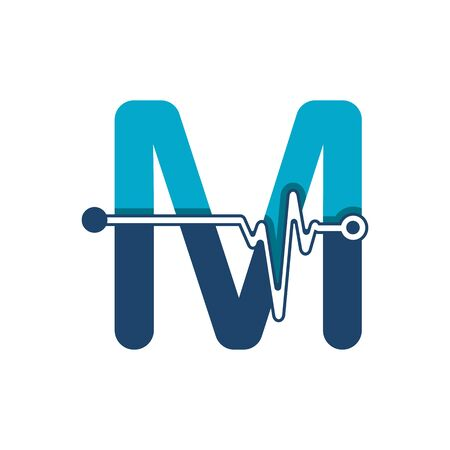 Letter M with Pulse Logo Vector Element Symbol Template