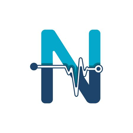 Letter N with Pulse Logo Vector Element Symbol Template