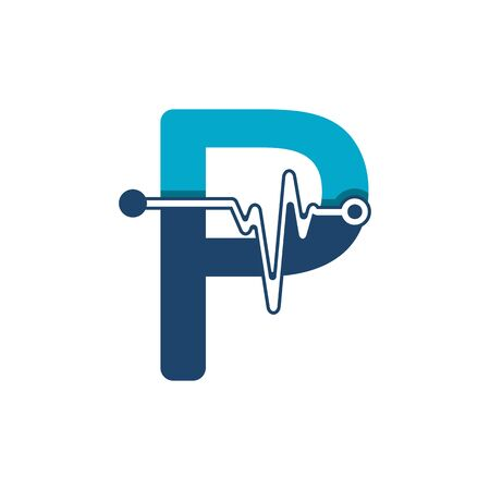Letter P with Pulse Logo Vector Element Symbol Template