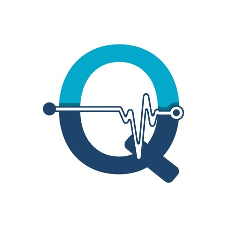 Letter Q with Pulse Logo Vector Element Symbol Template Иллюстрация