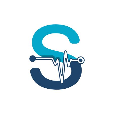 Letter S with Pulse Logo Vector Element Symbol Template