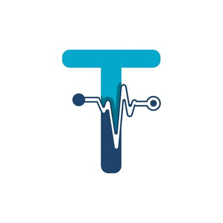 Letter T with Pulse Logo Vector Element Symbol Template