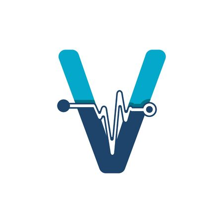 Letter V with Pulse Logo Vector Element Symbol Template