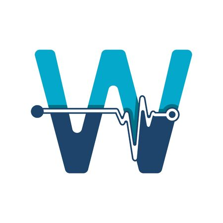Letter W with Pulse Logo Vector Element Symbol Template