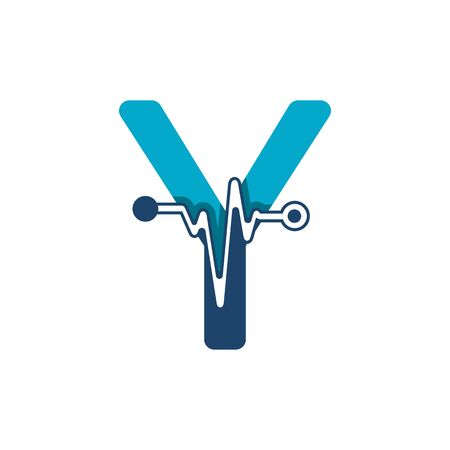 Letter Y with Pulse Logo Vector Element Symbol Template Иллюстрация