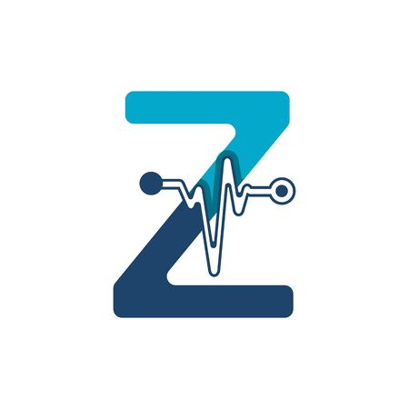 Letter Z with Pulse Logo Vector Element Symbol Template
