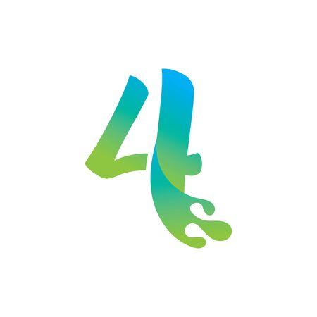 Number 4 logo design with water splash ripple template Иллюстрация