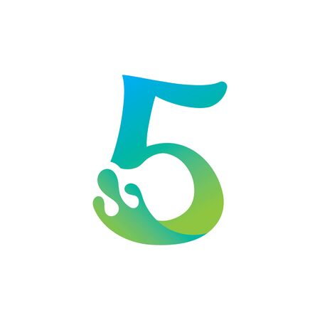 Number 5 logo design with water splash ripple template