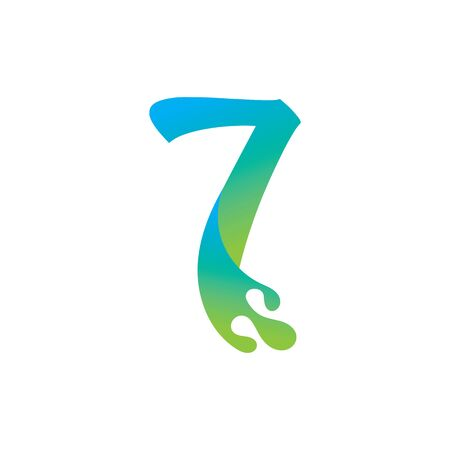 Number 7 logo design with water splash ripple template