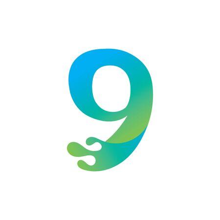 Number 9 logo design with water splash ripple template Иллюстрация