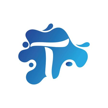 T letter logo design with water splash template design Иллюстрация