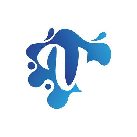 U letter logo design with water splash template design