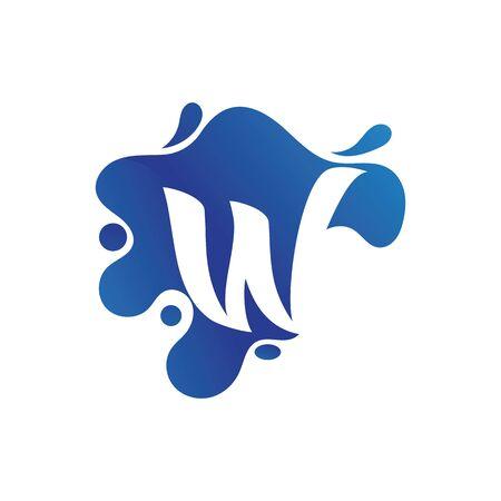 W letter logo design with water splash template design