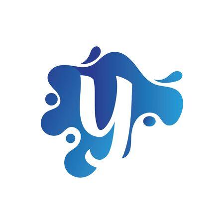 Y letter logo design with water splash template design