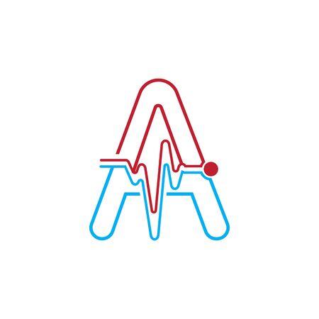Letter A with Pulse line Logo Vector Element Symbol Template Иллюстрация