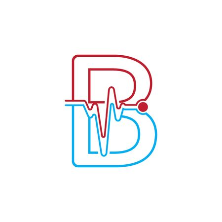 Letter B with Pulse line Logo Vector Element Symbol Template