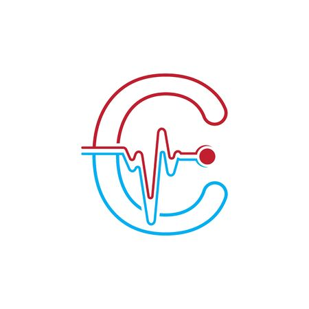 Letter C with Pulse line Logo Vector Element Symbol Template