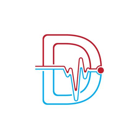Letter D with Pulse line Logo Vector Element Symbol Template