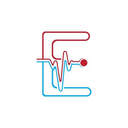 Letter E with Pulse line Logo Vector Element Symbol Template Иллюстрация