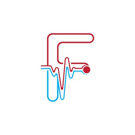 Letter F with Pulse line Logo Vector Element Symbol Template