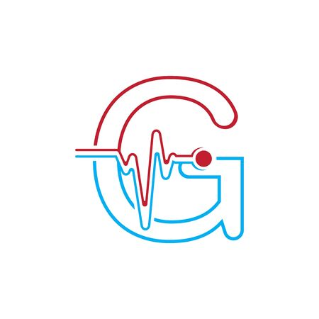 Letter G with Pulse line Logo Vector Element Symbol Template