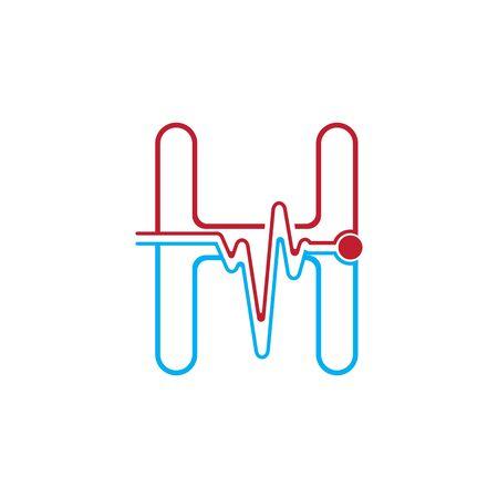 Letter H with Pulse line Logo Vector Element Symbol Template Иллюстрация