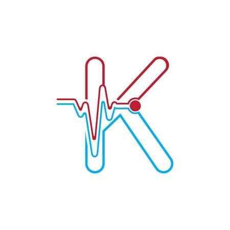 Letter k with Pulse line Logo Vector Element Symbol Template