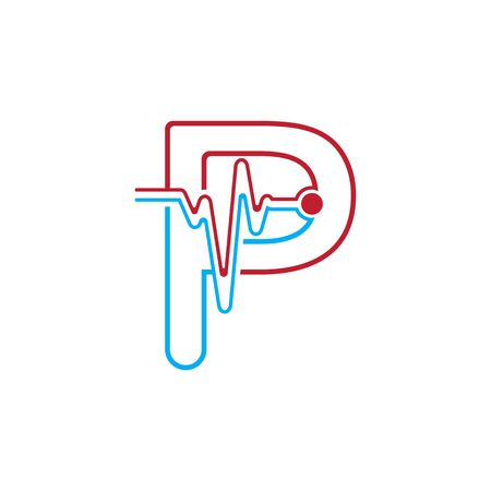 Letter P with Pulse line Logo Vector Element Symbol Template