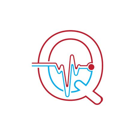 Letter Q with Pulse line Logo Vector Element Symbol Template