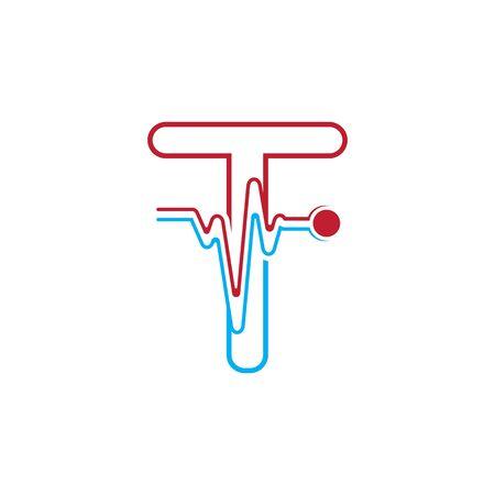Letter T with Pulse line Logo Vector Element Symbol Template Иллюстрация