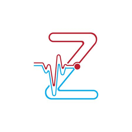 Letter Z with Pulse line Logo Vector Element Symbol Template Иллюстрация