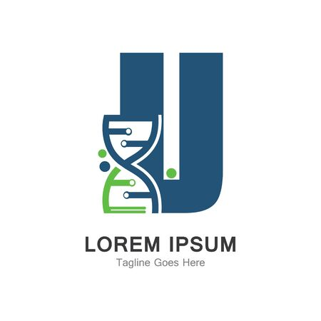 U letter with DNA logo creative design template Иллюстрация