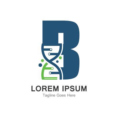 B letter with DNA logo creative design template Иллюстрация