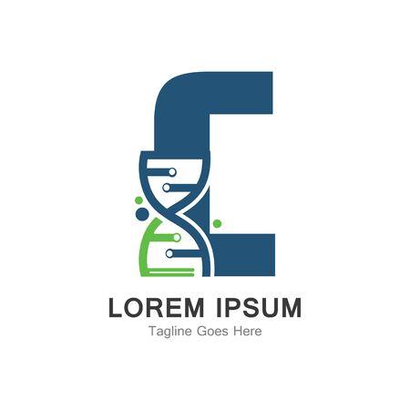 C letter with DNA logo creative design template Иллюстрация