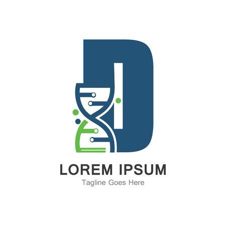 D letter with DNA logo creative design template Ilustração