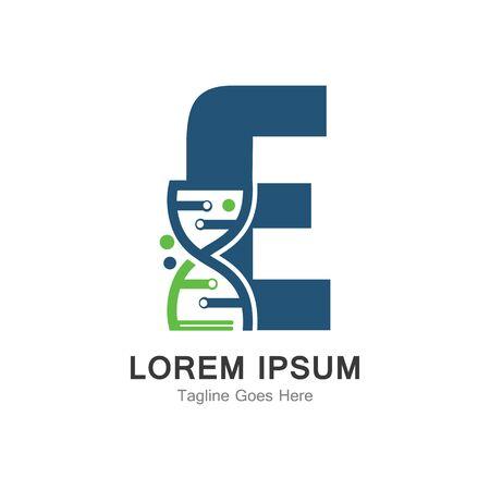 E letter with DNA logo creative design template
