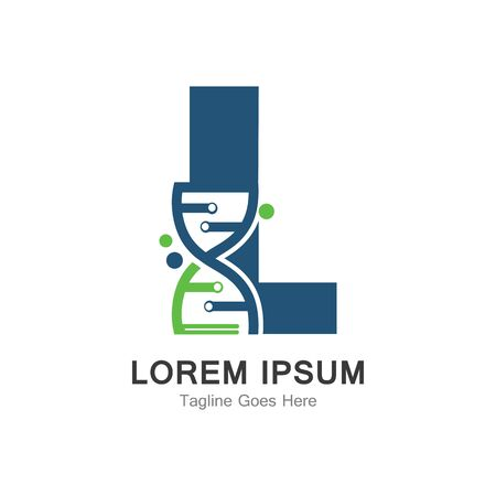 L letter with DNA logo creative design template Ilustração