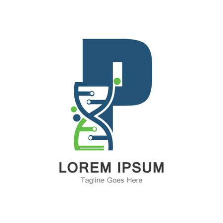 P letter with DNA logo creative design template
