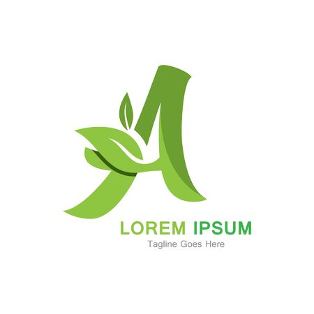 Letter A with leaf logo concept template design Иллюстрация