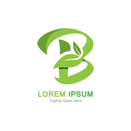 Letter B with leaf logo concept template design