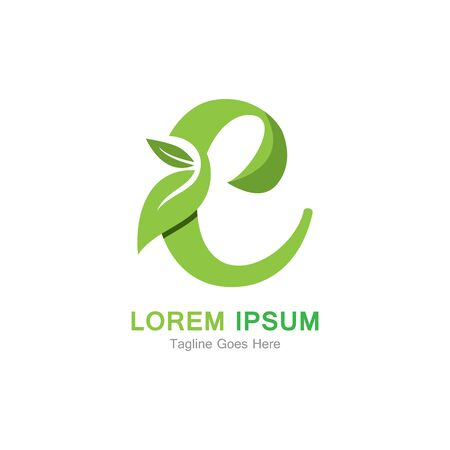 Letter C with leaf logo concept template design