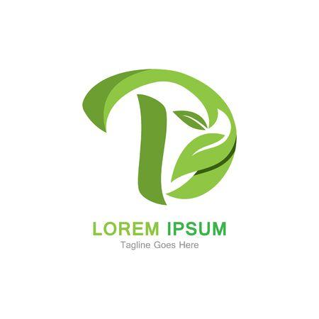 Letter D with leaf logo concept template design Иллюстрация