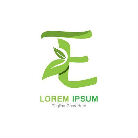 Letter E with leaf logo concept template design