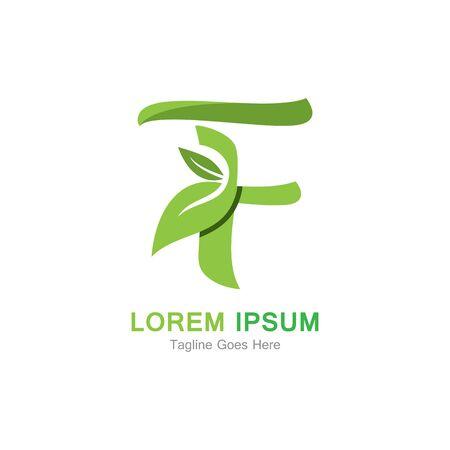 Letter F with leaf logo concept template design