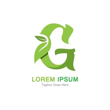 Letter G with leaf logo concept template design